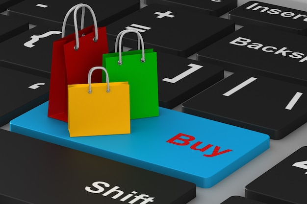 Zakupy online na białym tle.