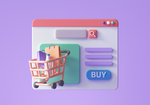 Zakupy online na koncepcji strony internetowej. projektowanie stron internetowych e-commerce. ilustracja renderowania 3d