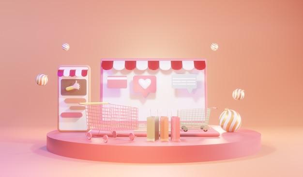 Zakupy online na smartfonie i laptopie. koncepcja zakupów i dostawy online, renderowanie 3d