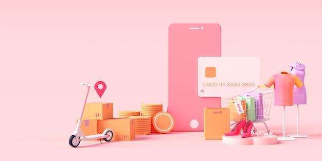Zakupy online renderowanie 3d, ubrania sklep internetowy, koncepcja płatności online i dostawy. baner sprzedaż, torba, rabat, reklama społecznościowa. ilustracja.