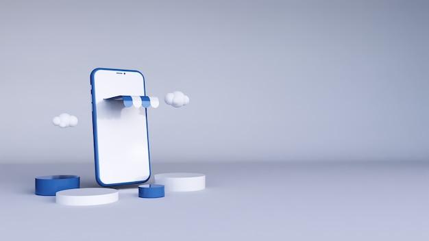 Zakupy online. smartfon zamienił się w sklep internetowy. renderowanie 3d.