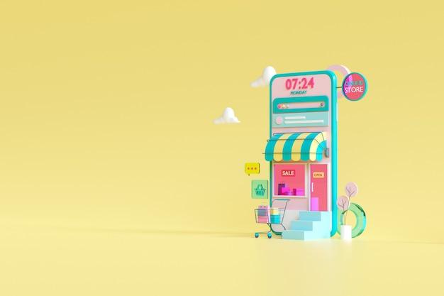 Zakupy w sklepie internetowym na koncepcji aplikacji mobilnej w renderowaniu 3d