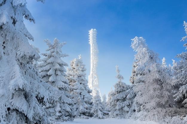 Zamarznięta telewizja lub wieża komórkowa w gęstym śniegu w pobliżu ośrodka narciarskiego. telekomunikacja góruje z anteny i wiszącej ozdoby anteną przeciw niebieskiemu niebu w zim górach.