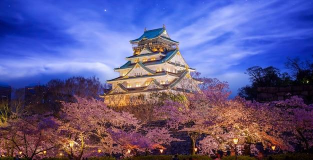 Zamek himeji z kwiatem sakura w nocy