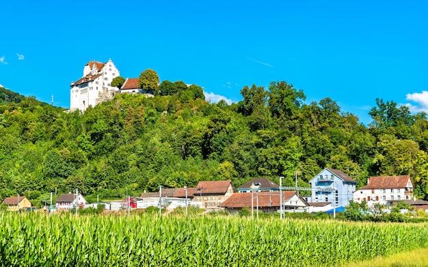 Zamek wildegg nad polem kukurydzy w szwajcarii
