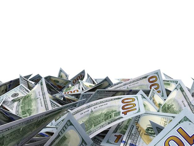 Zamknąć na sterty dollar bills samodzielnie na białym tle