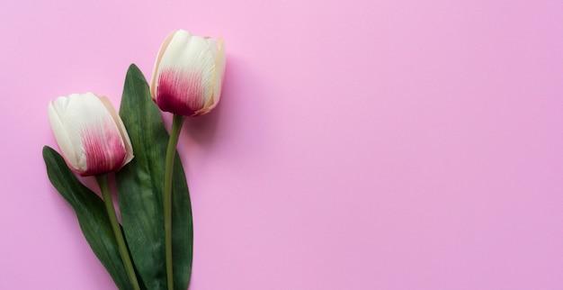 Zamknąć widok z góry kwiatu tulipanów na różowo