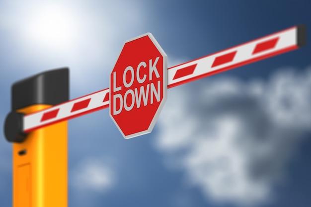 Zamknięta automatyczna szlaban z blokadą znaku na niebie. renderowanie 3d