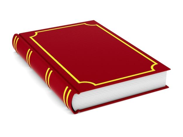 Zamknięta czerwona księga na białym tle. izolowana ilustracja 3d