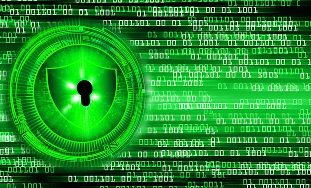 Zamknięta kłódka na cyfrowym tle bezpieczeństwo cybernetyczne