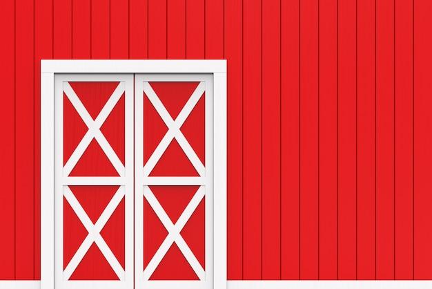 Zamknięte białe drzwi na czerwonym tle ściany paneli drewnianych.