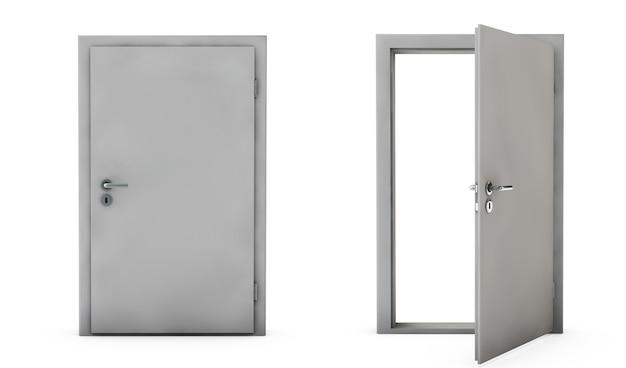 Zamknięte i otwarte drzwi izolowany render 3d