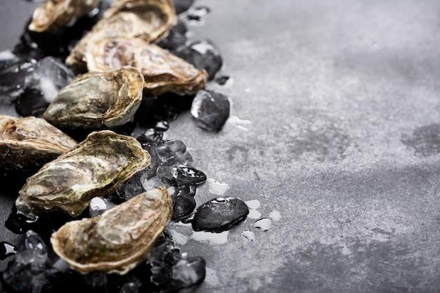Zamknięte ostrygi i lód na czarnym tle. zdrowe owoce morza, miejsce