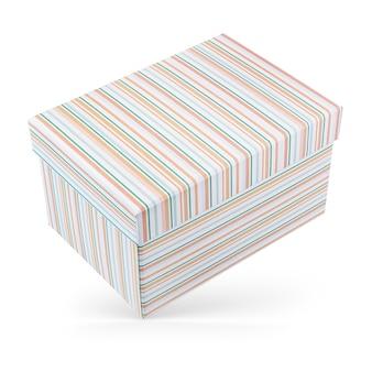 Zamknięte pudełko kartonowe z pomarańczowymi i zielonymi paskami na białym tle.