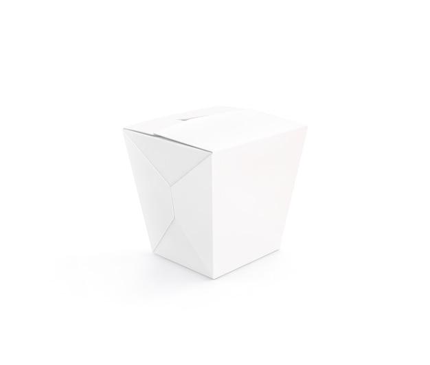 Zamknięty biały pusty wok pudełka stojak odizolowywający