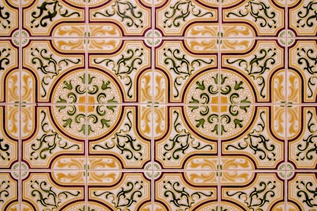 Zamknięty widok piękna grafika portuguese azulejo ceramiczny.