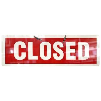 Zamknięty znak na białym tle nad białym