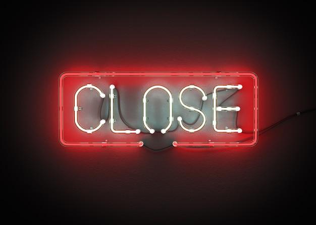 Zamknięty znak robić od neonowego abecadła 3d renderingu
