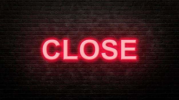 Zamknij emblemat neon znak w stylu neonowym na tle ściany z cegły