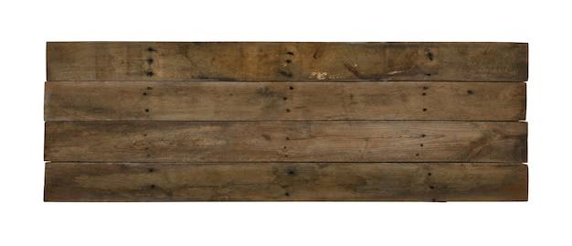 Zamknij jedną starą wyblakłą brązową drewnianą deskę grunge na białym tle