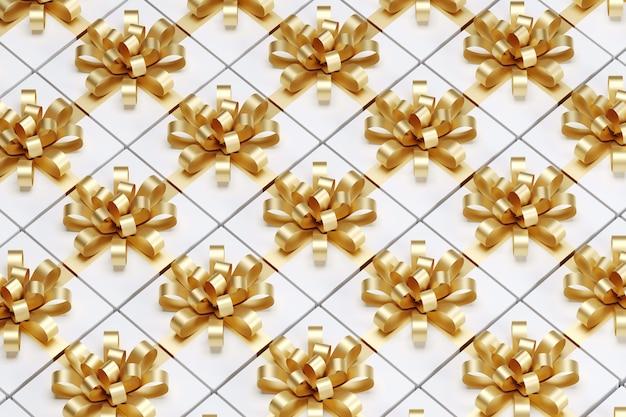 Zamknij się białe pudełko ze złotą wstążką. renderowanie 3d. świąteczny pomysł koncepcji.