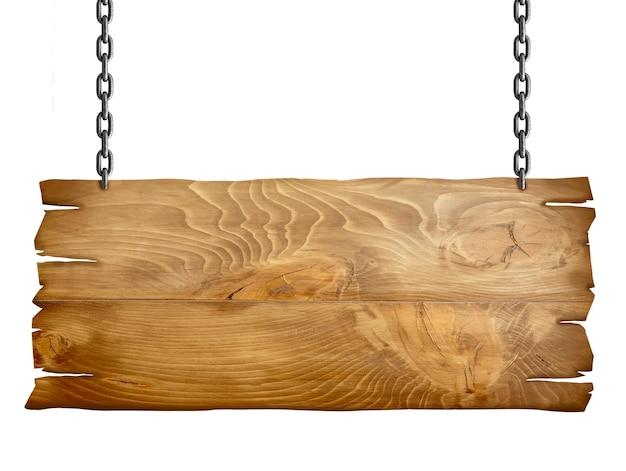 Zamknij się drewniany znak z łańcuchem na białym tle