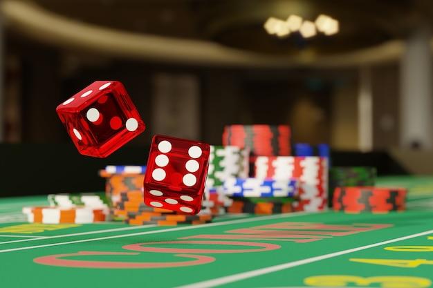 Zamknij się kości toczenia na stole do gry w kości. koncepcja hazardu.