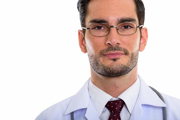 Zamknij się młody przystojny mężczyzna lekarza w okularach