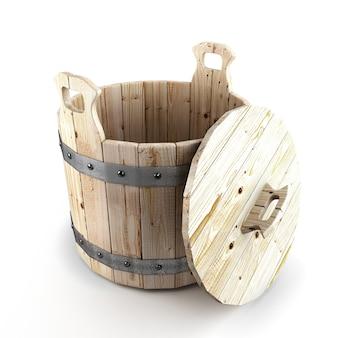 Zamknij się na drewnianym wiadrze do kąpieli na białym tle