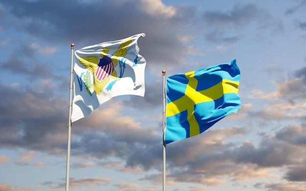 Zamknij się na flagach wysp dziewiczych stanów zjednoczonych i szwecji