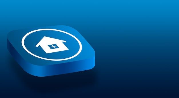Zamknij się na przycisku 3d z ikoną domu