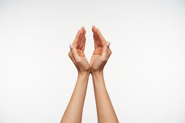 Zamknij się na ramionach eleganckiej kobiety z białym manicure, składając je i przynosząc do wody