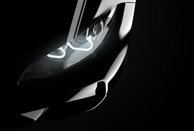 Zamknij się na reflektor nowoczesnego, czarnego samochodu typu generic i brandless