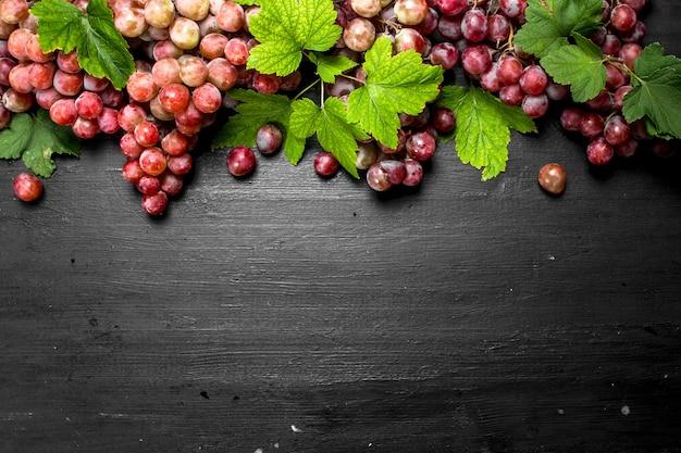 Zamknij się na stosie czerwonych winogron z liśćmi