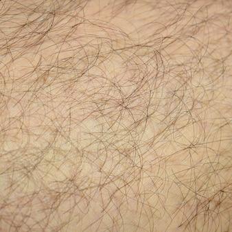 Zamknij się szczegół ludzkiej skóry z włosami. mans włochata noga