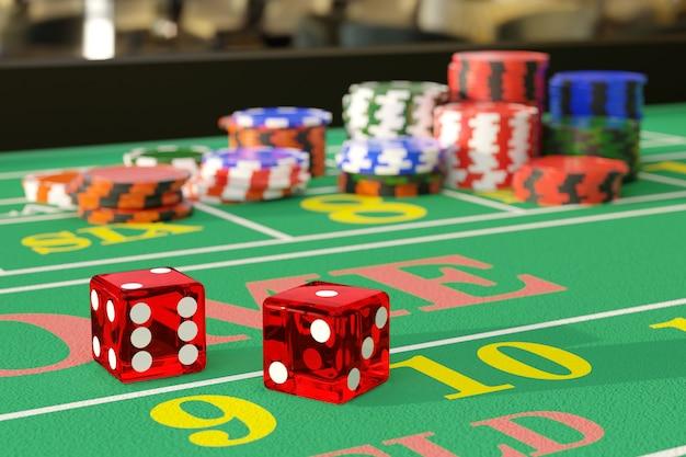 Zamknij się w kości na stole do gry w kości. koncepcja hazardu.