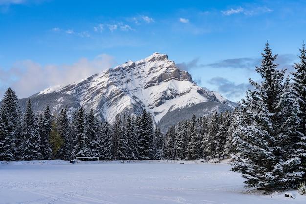 Zamknij się zaśnieżona góra kaskadowa z zaśnieżonym lasem nad błękitnym niebem i białymi chmurami w zimie