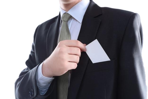 Zamknij up.businesswoman trzymając pustą wizytówkę, koncepcja biznesowa