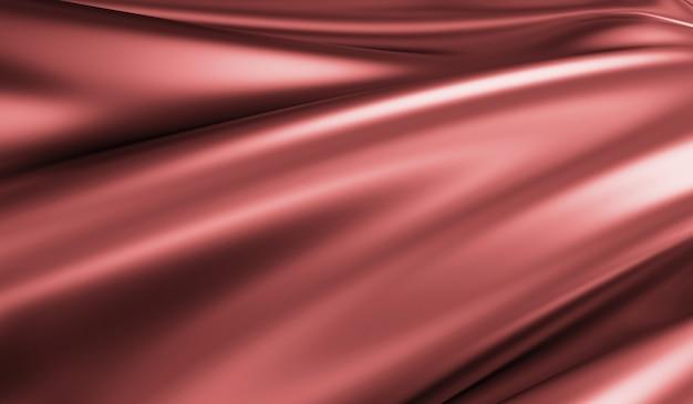 Zamknij widok na rippled red silk fabric w renderowaniu 3d