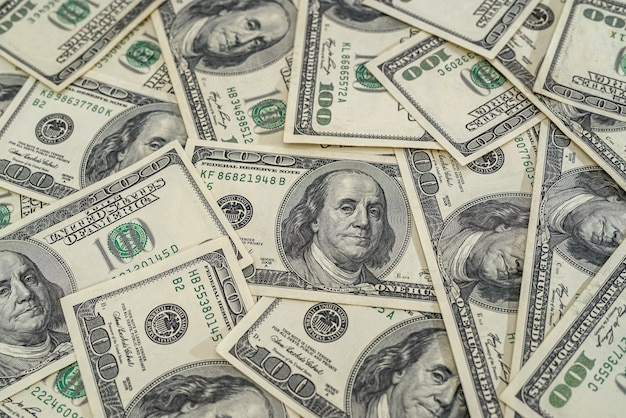 Zamknij widok nas pieniądze banknot jako tło. pomysł na biznes. studolarowe rachunki.