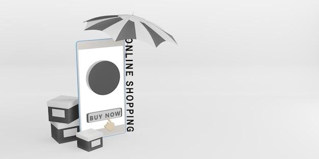 Zamów produkty za pośrednictwem tła aplikacji telefonu z ilustracją 3d w pudełku