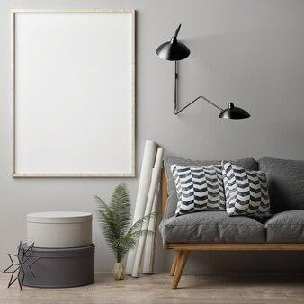 Zamyka pusty plakat retro sofa z dekoracją do domu