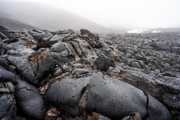 Zamyka up czarny lawowy zawijas w hawaje volcanoes parku narodowym