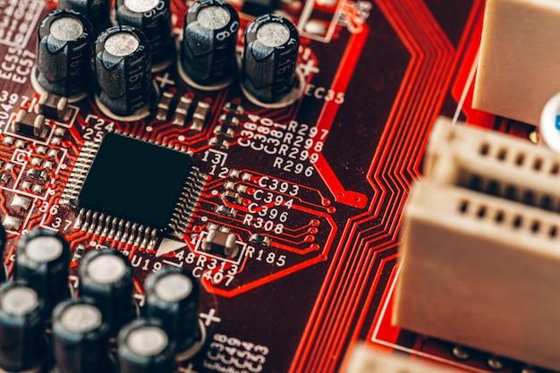 Zamyka up elektronicznego obwodu deska z procesorem