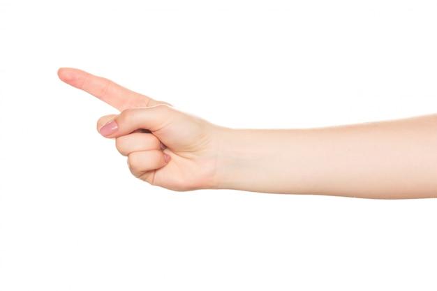 Zamyka up kobiety ręka z ścinek ścieżką
