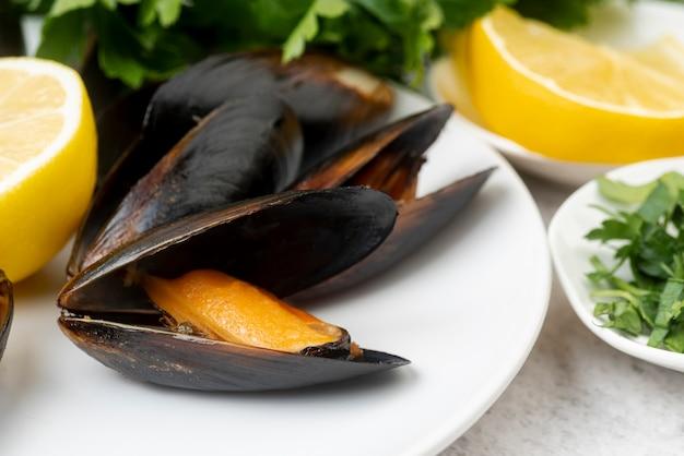 Zamyka up wyśmienici mussels