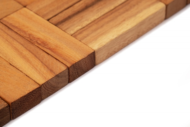 Zamyka w górę drewnianej tekstury, naturalne drewniane bloki bawi się dla backgroud.