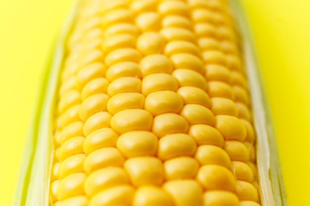 Zamyka w górę fotografia wizerunku młoda kukurudza groszkuje na żółtym jaskrawym tle