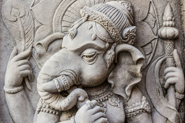 Zamyka w górę ganesh hinduskiego bóg twarzy.
