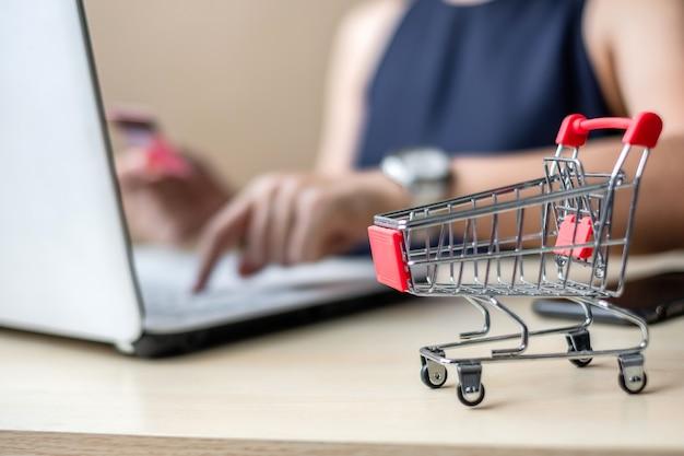 Zamyka w górę mini fury, azjatycki bizneswoman trzyma kredytową kartę i używa laptop
